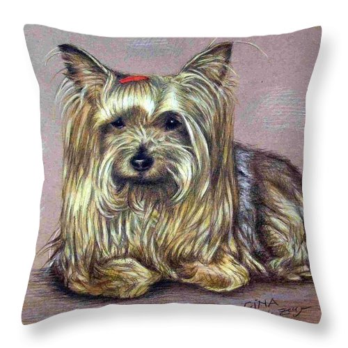 Dog Throw Pillow featuring the drawing Yorkshire Terrier by Nicole Zeug