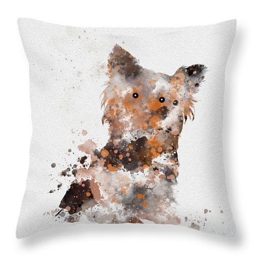 Dog Throw Pillow featuring the mixed media Yorkshire Terrier by Rebecca Jenkins
