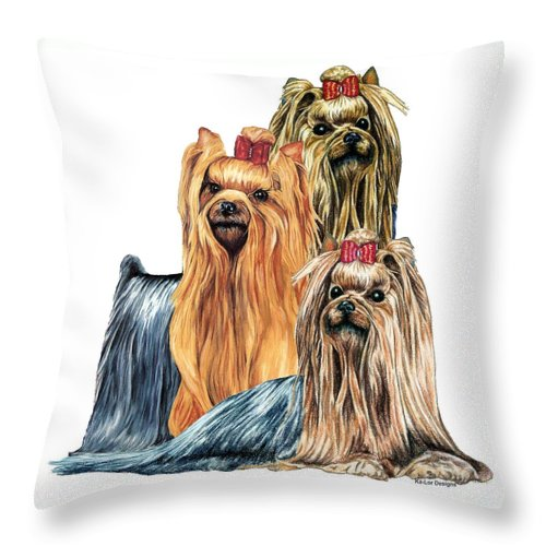 Yorkshire Terrier Throw Pillow featuring the drawing Yorkshire Terriers by Kathleen Sepulveda