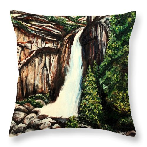 Landscape Throw Pillow featuring the painting Yosemite Falls by Elizabeth Robinette Tyndall