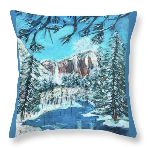 Yosemite Throw Pillow featuring the painting Yosemite In Winter by Carolyn Donnell