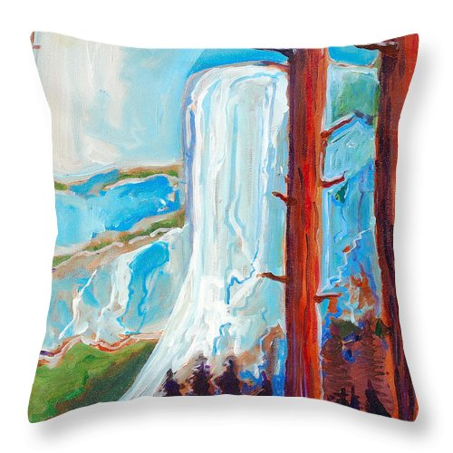 Throw Pillow featuring the painting Yosemite by Kurt Hausmann