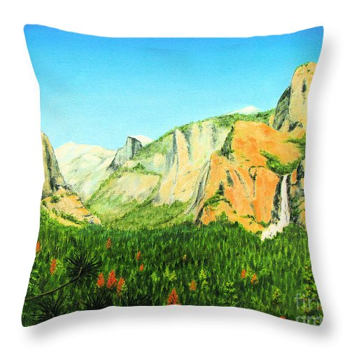Yosemite National Park Throw Pillow featuring the painting Yosemite National Park by Jerome Stumphauzer