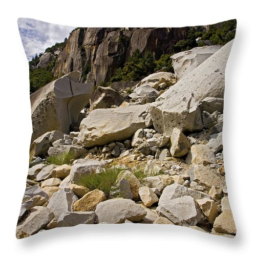 Yosemite National Park Throw Pillow featuring the photograph Yosemite Rockslide by Bonnie Bruno