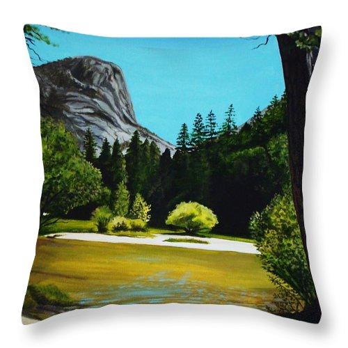 Landscape Throw Pillow featuring the painting Yosemite's Window by Elizabeth Robinette Tyndall