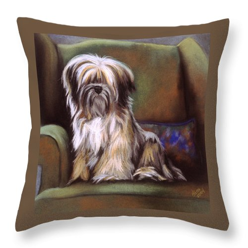 Purebred Throw Pillow featuring the pastel You Are In My Spot Again by Barbara Keith
