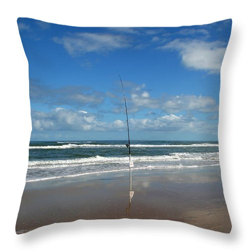 Fish Fishing Vacation Beach Surf Shore Rod Pole Chair Blue Sky Ocean Waves Wave Sun Sunny Bright Throw Pillow featuring the photograph You Could Have Been There by Andrei Shliakhau