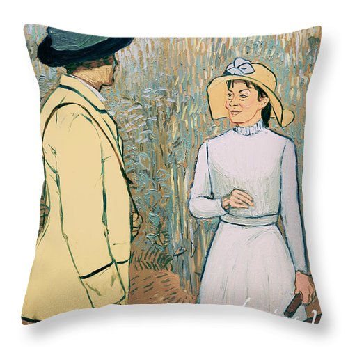 Throw Pillow featuring the painting You Don't Want to Stay There by Olga Krolak