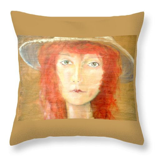 Woman Throw Pillow featuring the painting You Found My Hat by J Bauer
