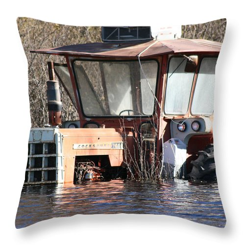 Flood Regina Sk Canada Flooding Flooded Farm Tractor Trees Grass Wrecked Loss Throw Pillow featuring the photograph You Go Get The Tractor by Andrea Lawrence