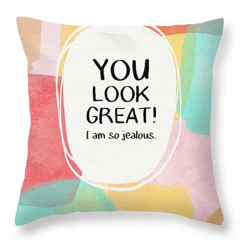 Diet Throw Pillow featuring the mixed media You Look Great- Art By Linda Woods by Linda Woods