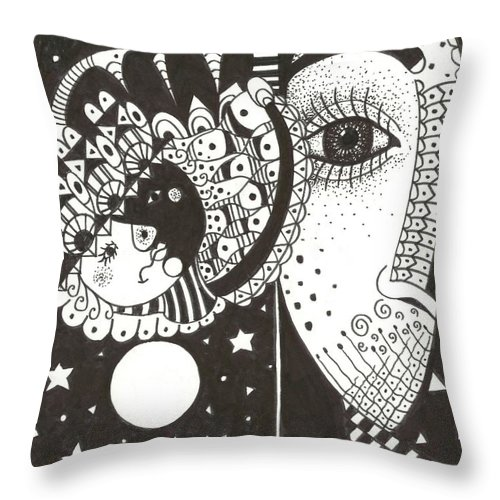 Ethereal Throw Pillow featuring the drawing You Me The Stars And The Moon by Helena Tiainen