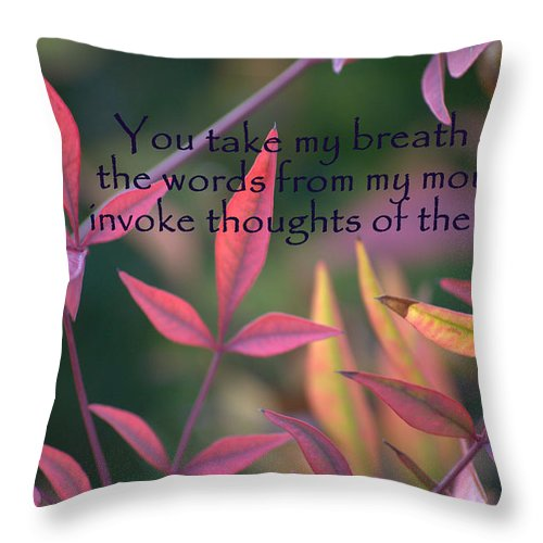 Red Throw Pillow featuring the photograph You Take My Breath Away by Mark Bell