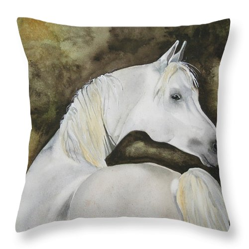 Horse Throw Pillow featuring the painting You Talking To Me by Jean Blackmer
