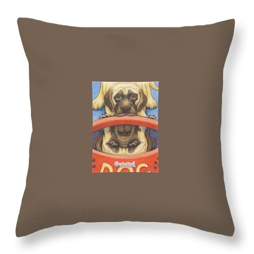 Mastiff Throw Pillow featuring the drawing Youll Be A Big Boy Soon by Amy S Turner