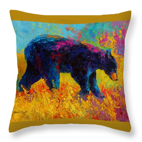 Bear Throw Pillow featuring the painting Young And Restless - Black Bear by Marion Rose