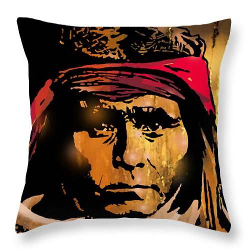 Native Americans Throw Pillow featuring the painting Young Apache Brave by Paul Sachtleben