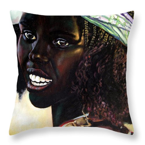 Young Black African Girl Throw Pillow featuring the painting Young Black African Girl by John Lautermilch