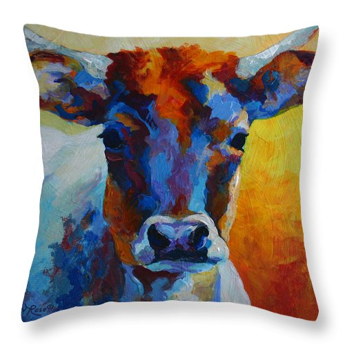 Western Throw Pillow featuring the painting Young Blood - Longhorn by Marion Rose