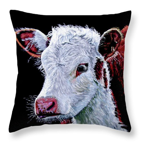 Calf Throw Pillow featuring the painting Young Bull by Stan Hamilton