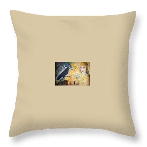 Oil Painting With Symbolic Imagery Throw Pillow featuring the ceramic art Young Elijah by Stephen Hawks