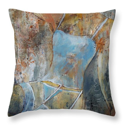 Nude Throw Pillow featuring the painting Young Girl 451108 by Pol Ledent