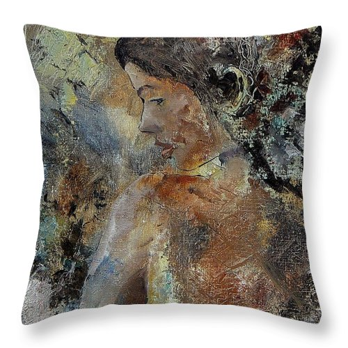 Girl Throw Pillow featuring the painting Young Girl 45156987 by Pol Ledent