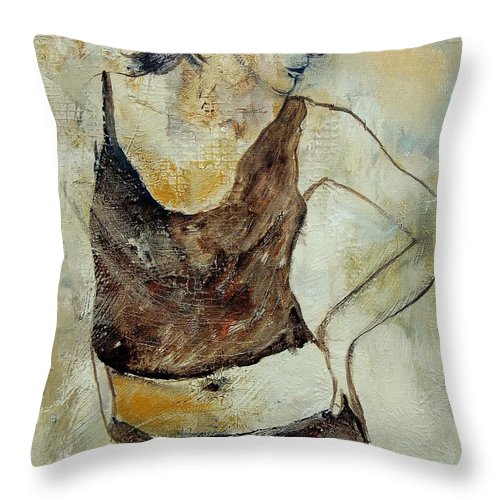 Nude Throw Pillow featuring the painting Young Girl 459070 by Pol Ledent