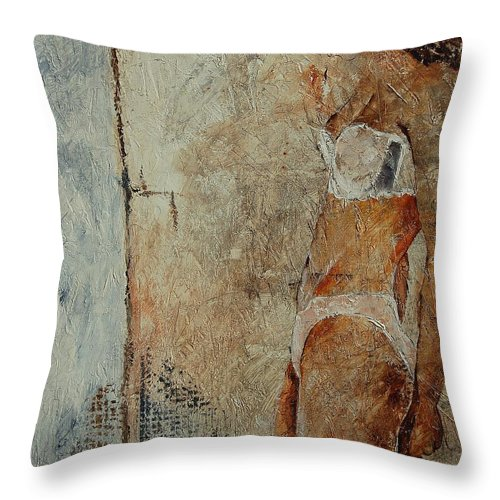 Girl Throw Pillow featuring the painting Young Girl 563548 by Pol Ledent