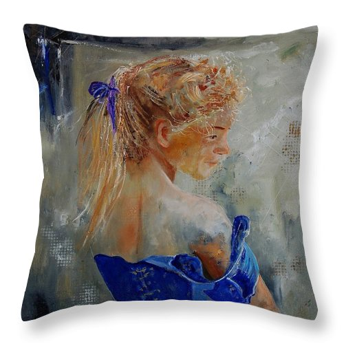 Gir Throw Pillow featuring the painting Young Girl 78 by Pol Ledent