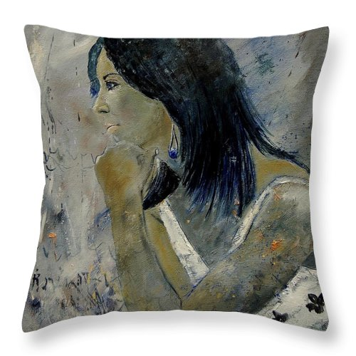 Girl Throw Pillow featuring the painting Young Girl Eg569090 by Pol Ledent