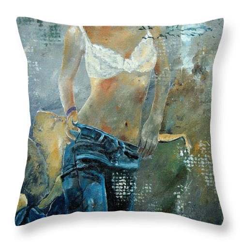 Girl Throw Pillow featuring the painting Young Girl In Jeans by Pol Ledent