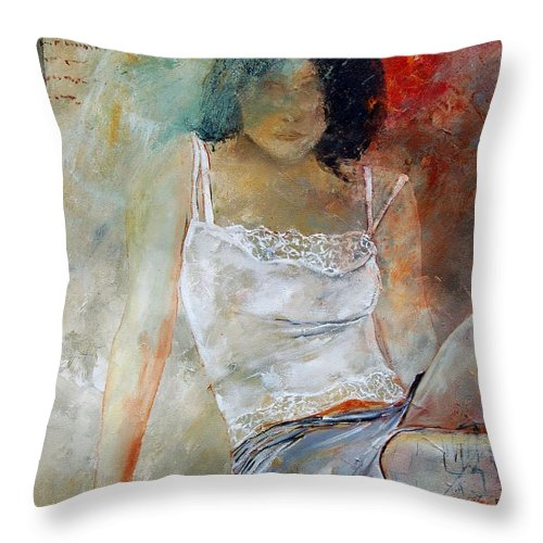Nude Throw Pillow featuring the painting Young Girl Sitting by Pol Ledent