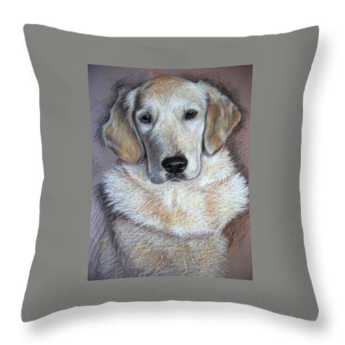 Dog Throw Pillow featuring the pastel Young Golden Retriever by Nicole Zeug