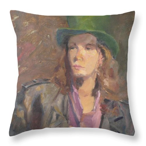 Young Man Irish Green Hat Portrait Figurative Long Hair Coat Throw Pillow featuring the painting Young Irish Man by Irena Jablonski