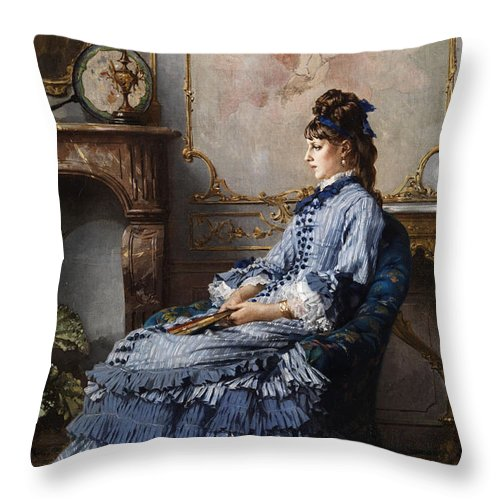 Frederik Hendrik Kaemmerer Throw Pillow featuring the painting Young Lady At The Fireplace by Frederik Hendrik Kaemmerer