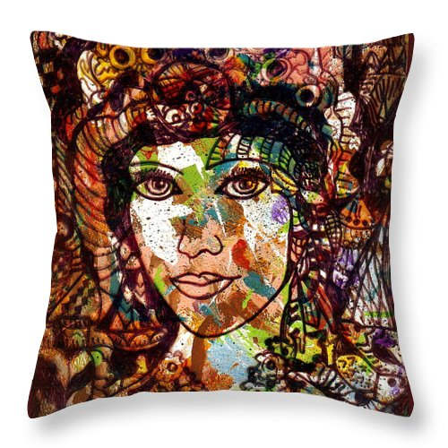 Female Throw Pillow featuring the painting Young Maiden by Natalie Holland
