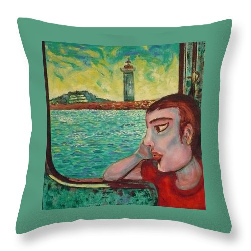 Window Throw Pillow featuring the painting Young Man In A Window by Ericka Herazo