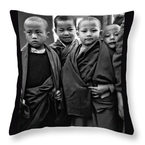 Buddhism Throw Pillow featuring the photograph Young Monks II Bw by Steve Harrington