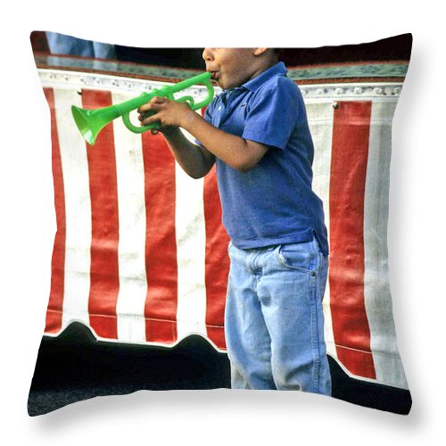 Young Musician Throw Pillow featuring the photograph Young Musician by Laurie Paci