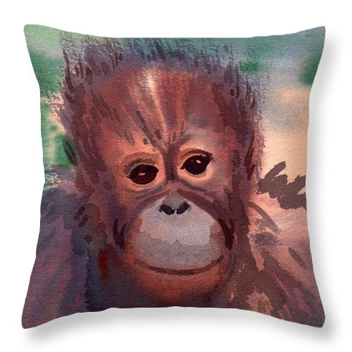Orangutans Throw Pillow featuring the painting Young Orangutan by Donald Maier
