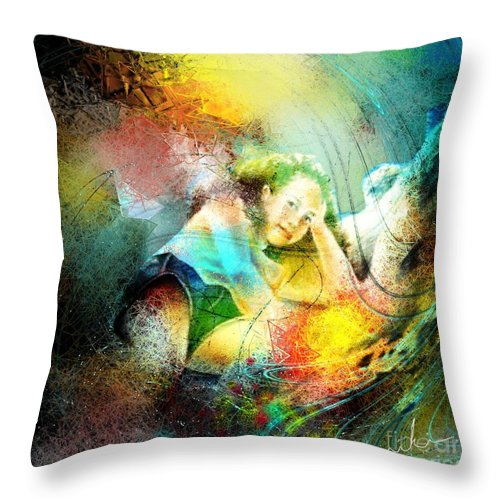 Nature Throw Pillow featuring the painting Young Seduction by Miki De Goodaboom