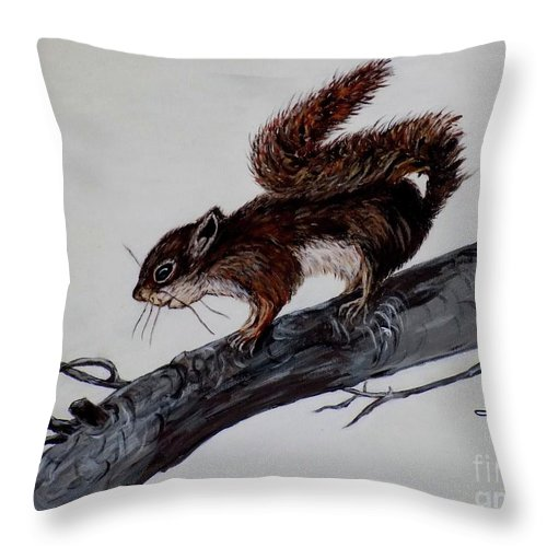 Baby Throw Pillow featuring the painting Young Squirrel by Judy Kirouac