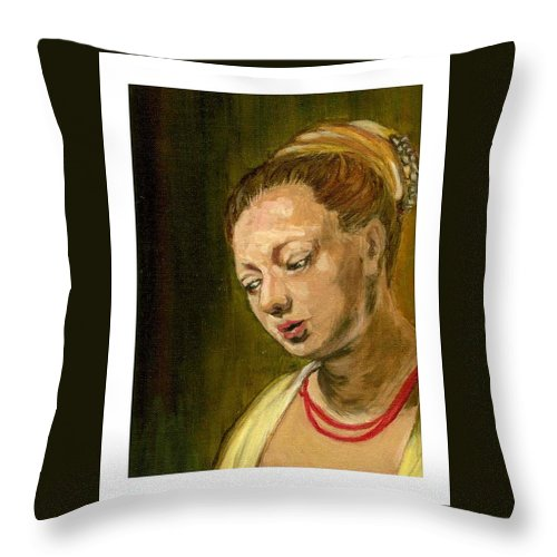 Rembrandt's Painting Throw Pillow featuring the painting Young Woman by Asha Sudhaker Shenoy