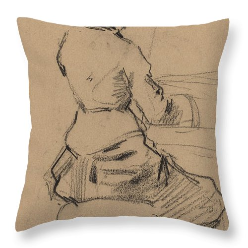 Throw Pillow featuring the drawing Young Woman Seated At A Piano [verso] by Jean-louis Forain