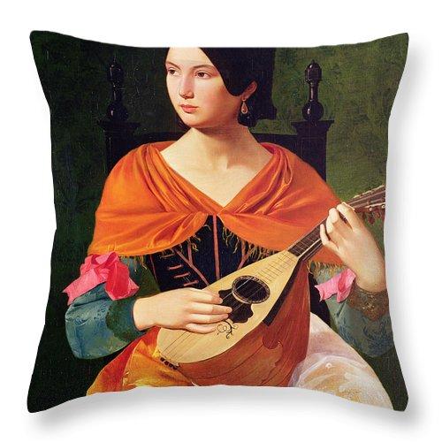 Young Woman With A Mandolin Throw Pillow featuring the painting Young Woman With A Mandolin by Vekoslav Karas