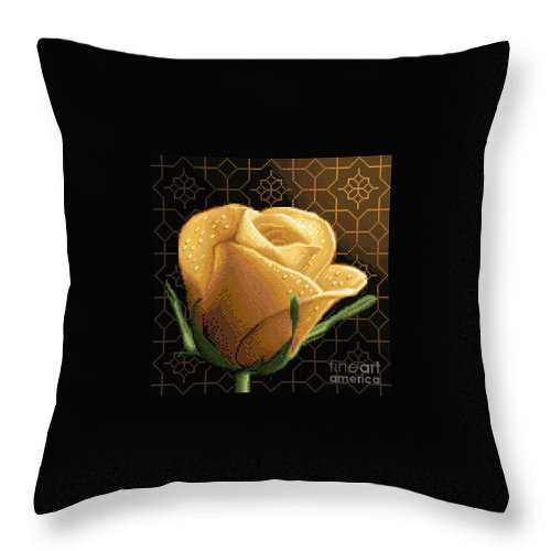 Yellow Rose Flower Needlework Design Cross Stitch Gobelin Throw Pillow featuring the tapestry - textile Your Rose by Stoyanka Ivanova