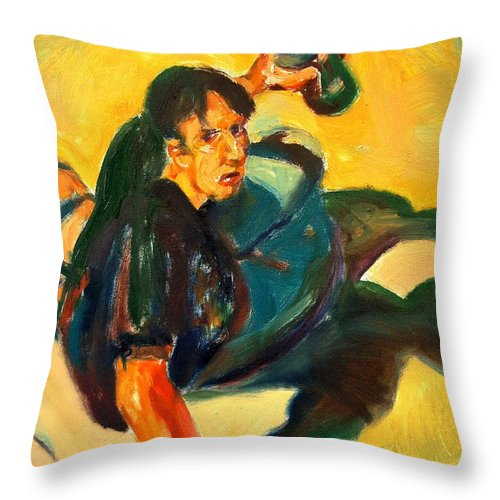 Dornberg Throw Pillow featuring the painting Youth With Spray Paint by Bob Dornberg