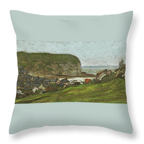 Claude Monet Throw Pillow featuring the drawing Yport And The Falaise D'aval by Claude Monet