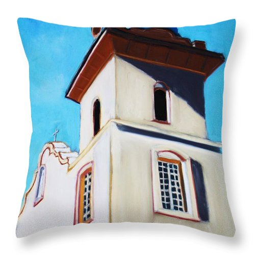 Ysleta Throw Pillow featuring the painting Ysleta Mission by Melinda Etzold
